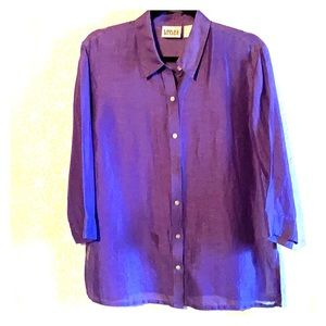 Chico's linen and silk purple button front shirt